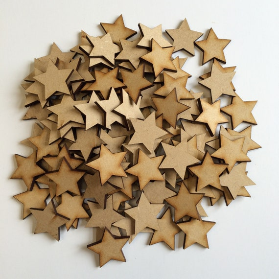 50x20mm Wooden Stars Blank Stars Wooden Shapes Blank Shapes Star Applique Mdf Stars Plain Stars Star Shapes Family Tree Christmas