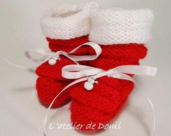 "Baby Slippers handmade ""Christmas"""