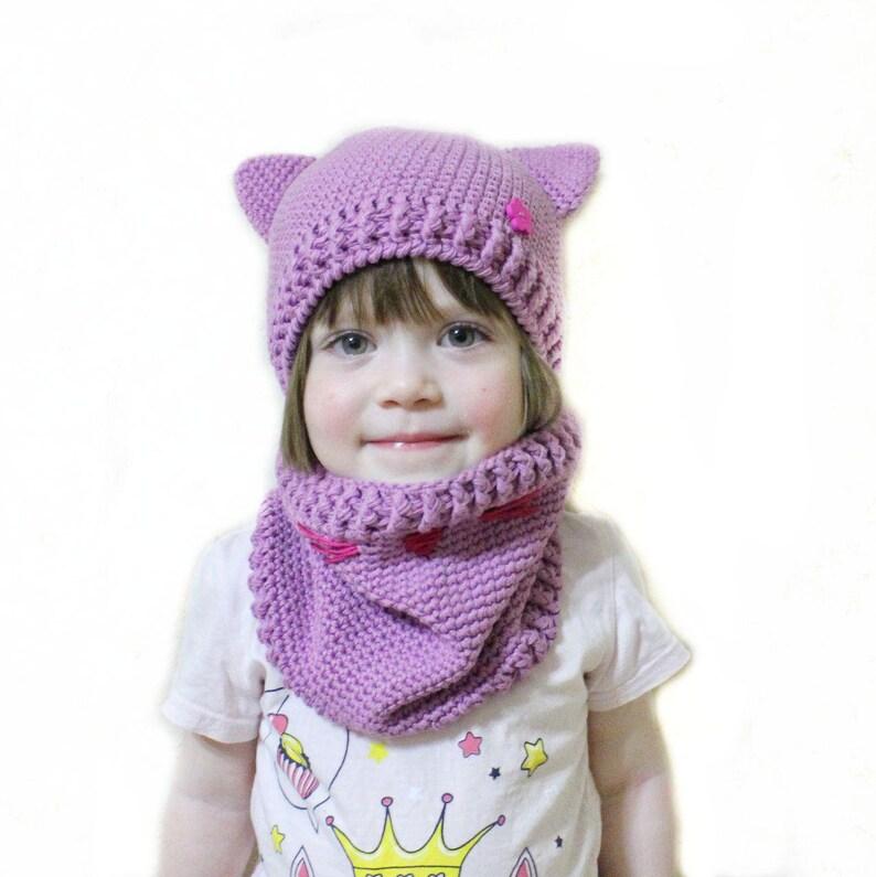 576973f7ebc Crochet cat hat Pink cat hat Cotton baby hat Cat ear hat 2