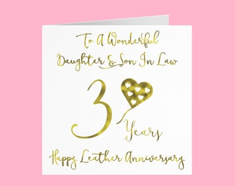 Daughter And Son In Law 3rd Anniversary Card - 'To A Wonderful Daughter & Son In Law' - '3 Years' - 'Happy Leather Anniversary'