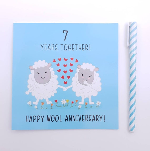 7th Wedding Anniversary.7th Wedding Anniversary Card Wool Anniversary
