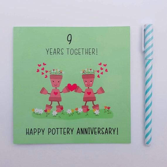 Personnalisé Pottery 9th Anniversaire De Mariage Carte spécial couple Femme Mari