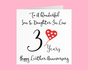 Son And Daughter In Law 3rd Anniversary Card - To A Wonderful Son & Daughter In Law - 3 Years - Happy Leather Anniversary - Love Heart