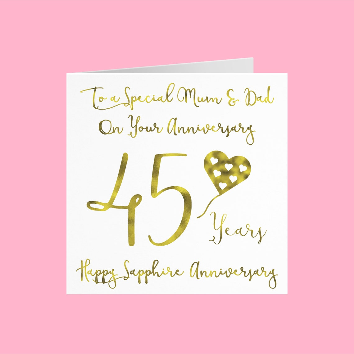 mum and dad  parents 45th anniversary card to a special