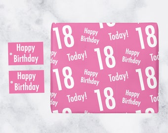18th Birthday Pink Gift Wrapping Paper And Gift Tags  - 'Happy Birthday' - '18 Today!' - Urban Colour Collection