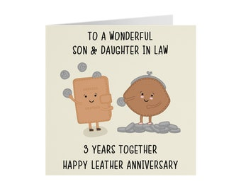 Son And Daughter In Law 3rd Anniversary Card - To A Wonderful Son & Daughter In Law - 3 Years Together - Happy Leather Anniversary - Iconic