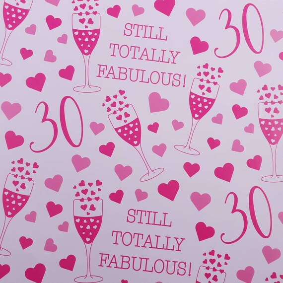 30th Birthday Quality Gift Wrapping Paper /& Gift Tags 1 Sheet /& 2 Gift Tags