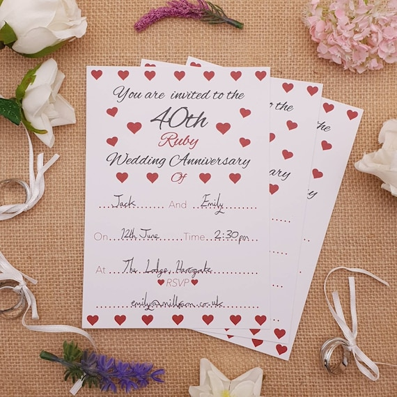 40th Ruby Wedding Anniversary Invitations Envelopes 1 Pack Of 8
