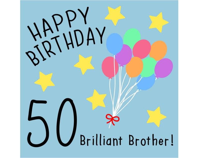 Brother 50th Birthday Card Brilliant