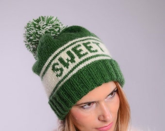 Personalized hat, Custom knit hat, personalized knit beanie, Giant Pompom, Personalized Name hat, Custom winter hat, custom order name gift