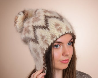 10cd1d9fb8898 Ear flap Hat, Knit Trapper hat, Hand Knit mohair hat, Fluffy knit hat,  Thick beanie, Giant Pompom hat, Fuzzy hat, Fair Isle mohair hat, Ski