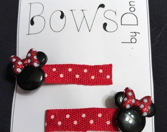 Mini Hair Clips pair Minnie Mouse