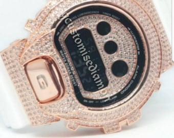 customise dw6900 rosegold diamond+inner diamond+chrome button