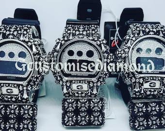 Customise dw6900 silver cross case+inner diamomd+chrome button+cross keeper