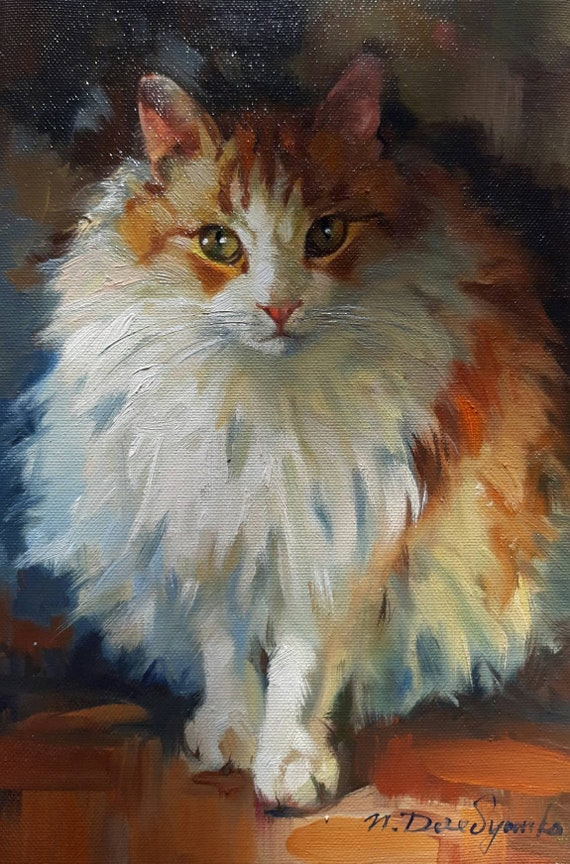 ready to hang Custom Pet Portrait painting from Photo Hand Painted Realistic Custom Pet Portrait Custom cat portrait painting on canvas