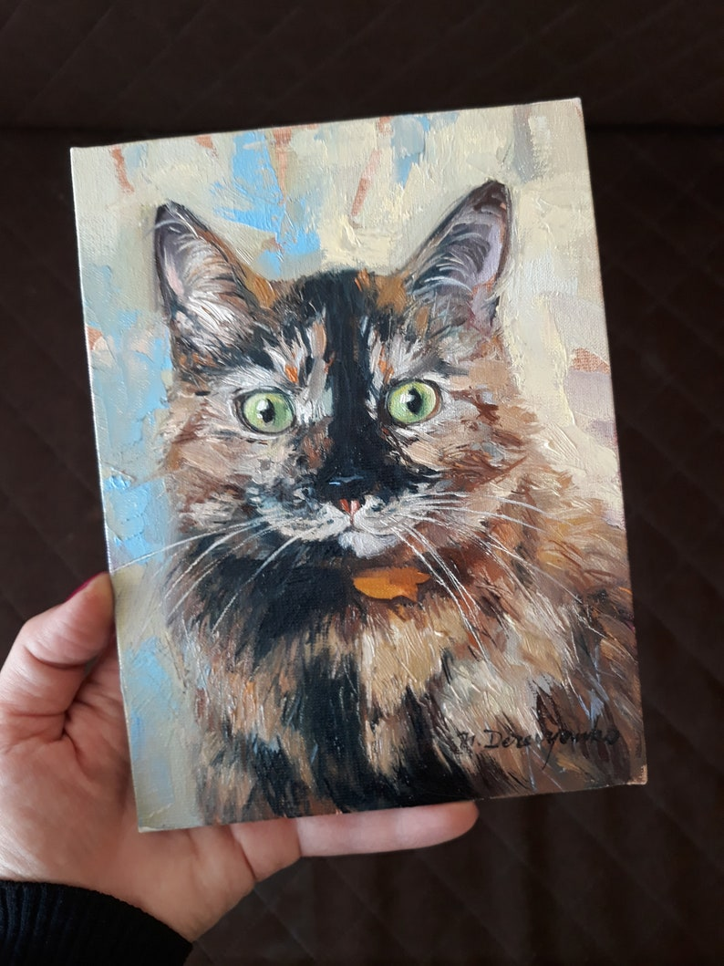Original cat painting 8x6 in oil on canvas Brown marble cat portrait to order from photo Custom pet portrait Cat lover gift