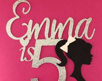 Birthday Cake Topper Barbie Silhouette 5th ANY Age Name