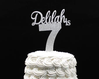 Birthday Cake Topper Customized Any Name And Age Glitter Number