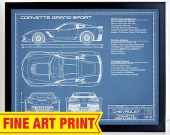 2014-2019 Corvette Grandsport art prints comes in 9 different exterior colors