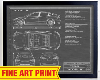 Bouwtekening Cars Bed.Model 3 Poster Etsy