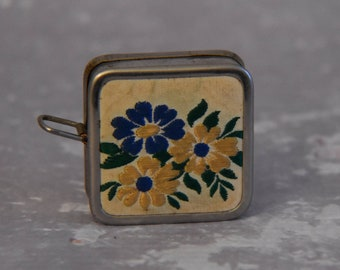 Vintage Tape Measure - Flowers in Blue and Yellow