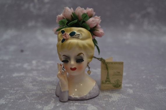 Inarco Head Vase With Original Inarco Flowers E 480 Etsy