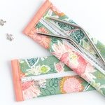 Floral Reusable Straw Pouch - Small Travel Waterproof Bag - EcoFriendly Gift - Utensil Zipper Case