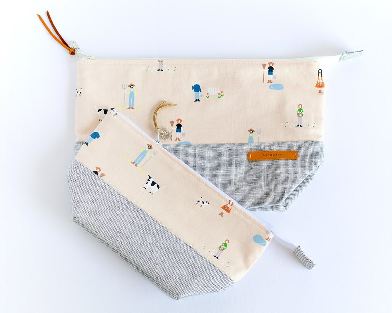 Farm Animal Zipper Pouch  Large Cosmetic Bag  Toiletry Bag image 0