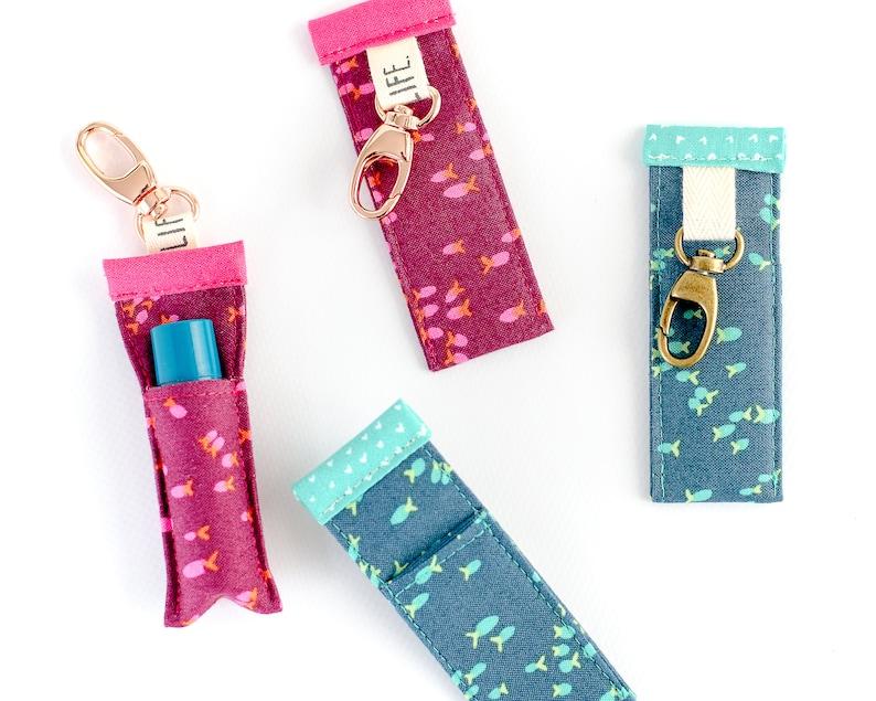 Lip Balm Holder  Chapstick Sleeve  Colorful Fish Key Chain  image 0
