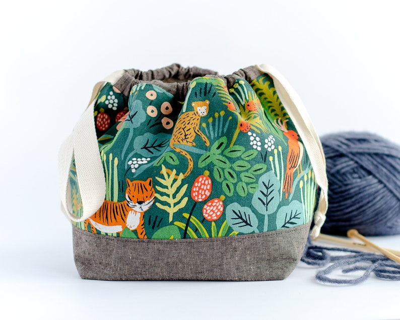 Jungle Project Bag - Rifle Paper Co Yarn Bowl - Fun Canvas Drawstring Pouch - Gift for Knitter