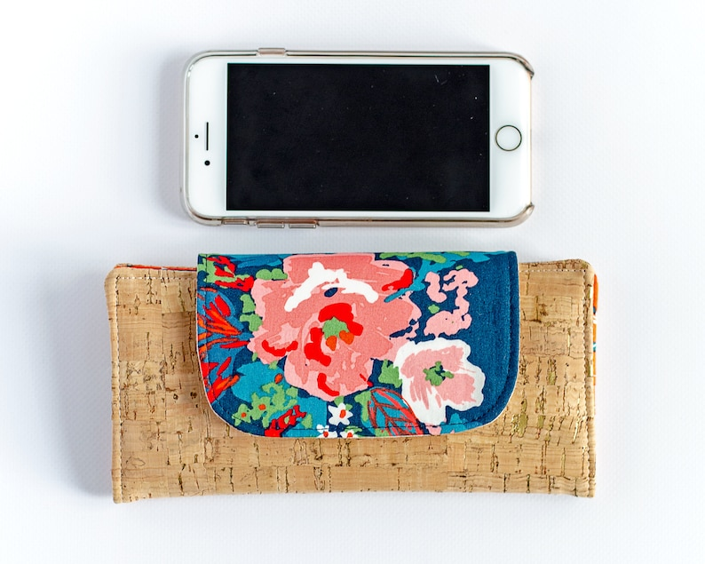 Slim Women's Wallet  Navy and Red Floral  Minimalist image 0