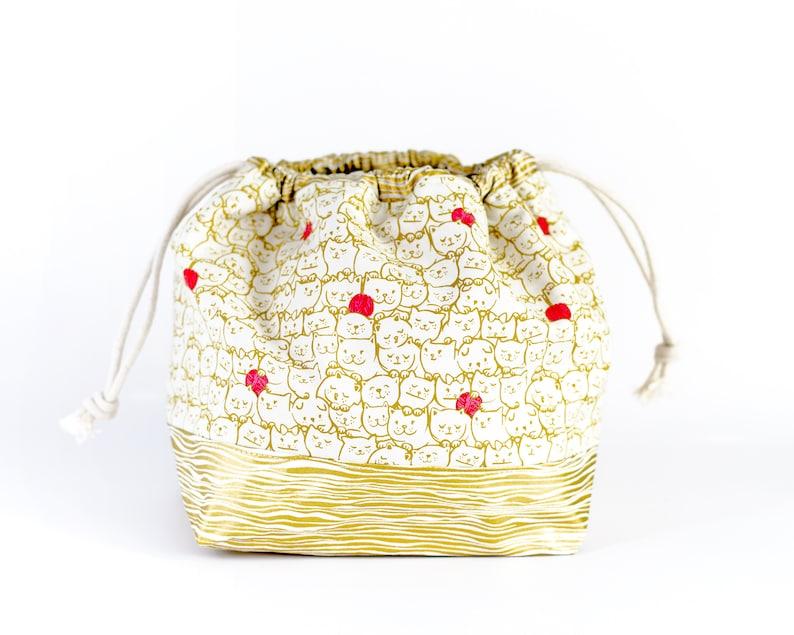 Drawstring Project Bag  Cat & Yarn Bucket Bag  Cinch Sack image 0