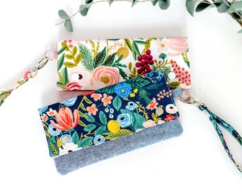 Blue Wristlet Wallet - Small Clutch Purse - Rifle Paper Co - Cell Phone Holder - Pocketbook with Strap