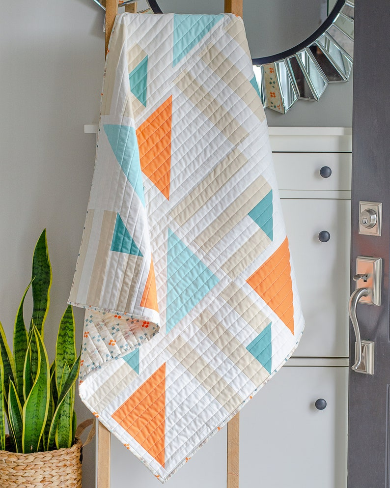 Modern Baby Quilt  Simple Nursery Decor  Baby Shower Gift  image 0