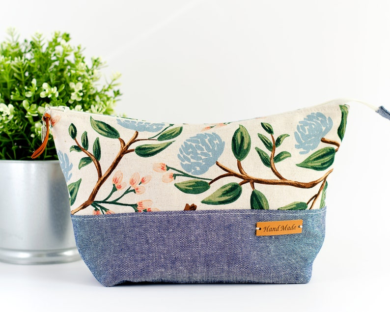 Rifle Paper Cosmetic Bag  Large Canvas Zipper Pouch  Floral image 0