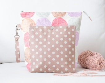 Large Project Bag - Canvas Zipper Pouch - Yarn Bowl - Gift for Knitter - Crochet Storage - Knitting Tote