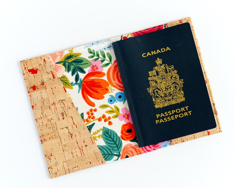 Vegan Leather Passport Cover  Floral Cork Passport Holder  image 0