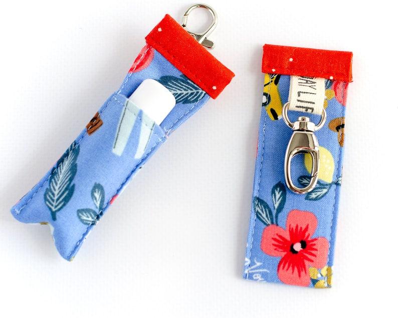 Lip Balm Holder  Chapstick Sleeve  Colorful Key Chain  Gift image 0