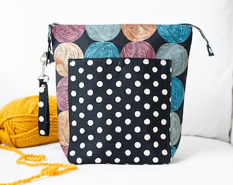 Large Project Bag - Canvas Zipper Pouch - Yarn Bowl - Gift for Knitter - Crochet Storage - Black Knitting Tote