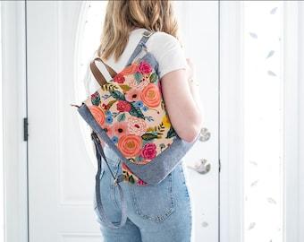 Modern Slim Backpack - Soft Faux Leather Shoulder Bag - Fashionable Knapsack - Tote Bag