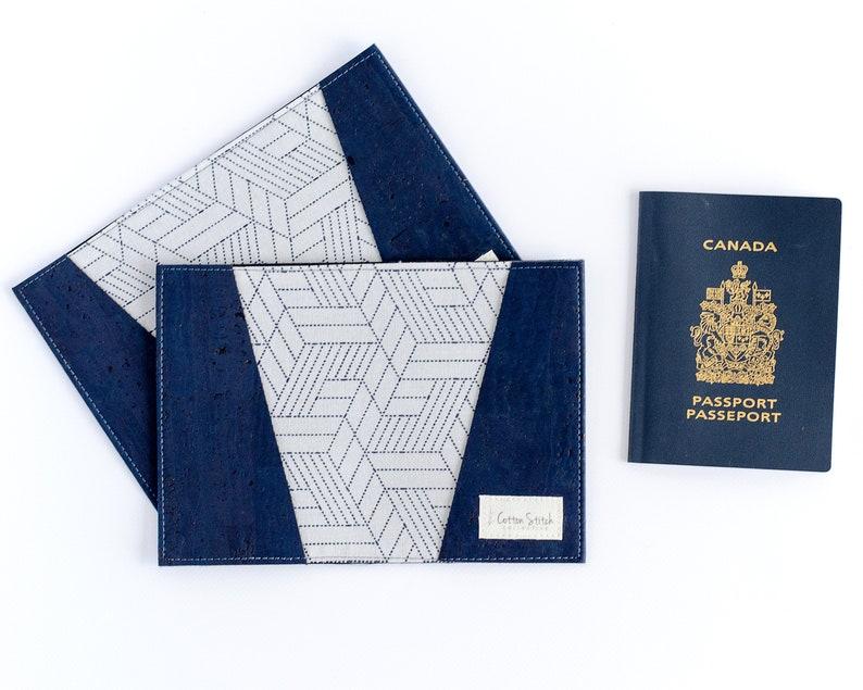 Navy Blue Cork Passport Cover  Vegan Leather Passport Sleeve image 0