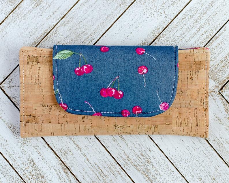 Cherry Slim Women's Wallet  Navy Minimalist Pocketbook  image 0