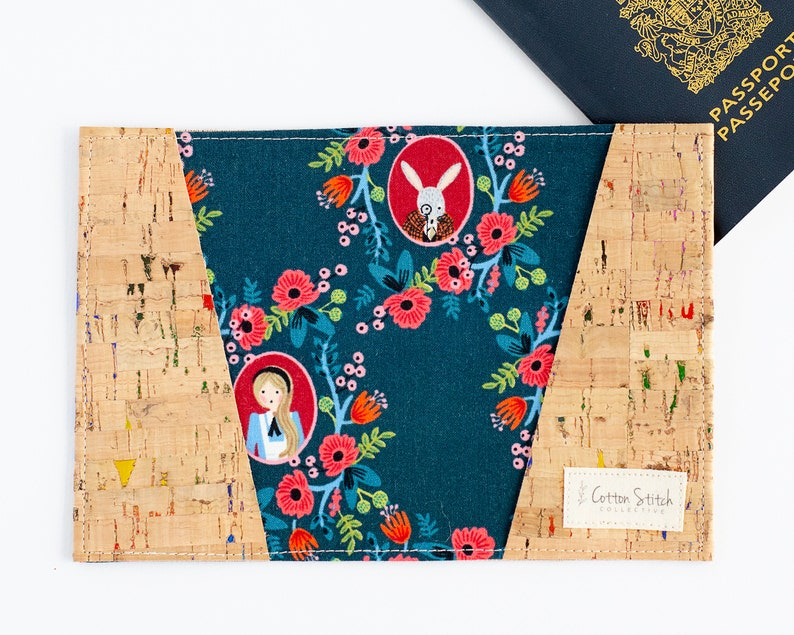 Navy Floral  Alice in Wonderland Passport Wallet  Cork Vegan image 0