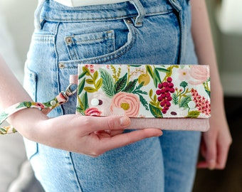 Floral Wristlet - Small Clutch Wallet - Rifle Paper Co - Cell Phone Purse -  Gift for Her
