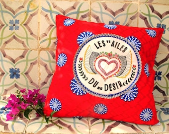 """Embroidered cushion """"wings of desire"""""""
