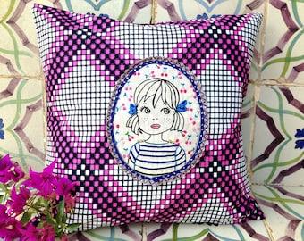 """Embroidered square cushion """"Sofia"""""""