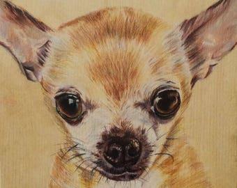 Custom Dog Portrait / chihuahua / father's day gift / dog art / doggywood
