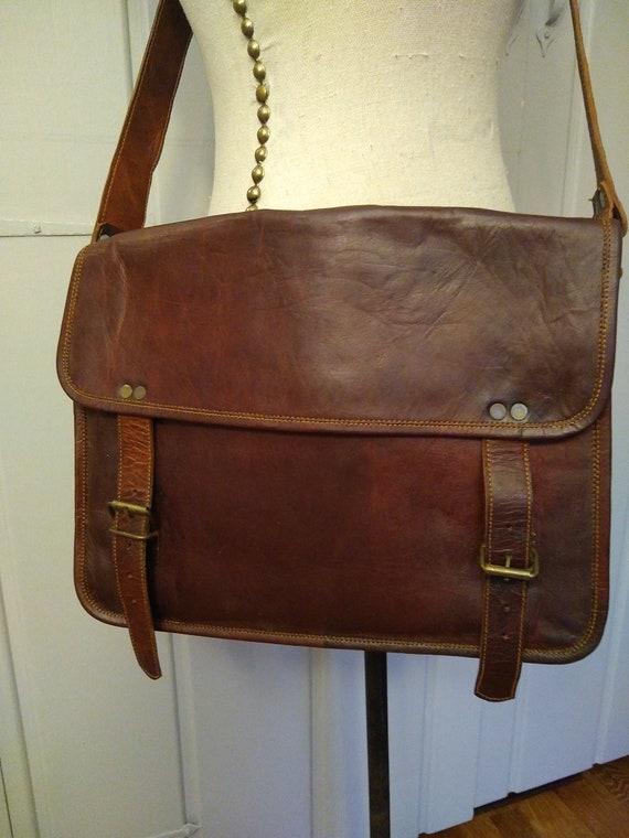 1970's all leather brass studded crossbody satchel