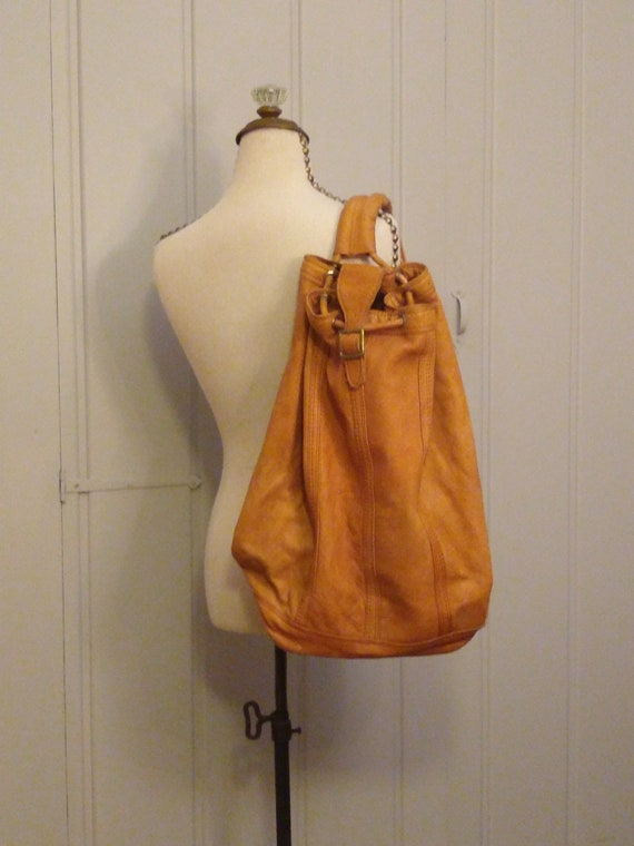 1970's blonde handmade leather backpack / Vintage
