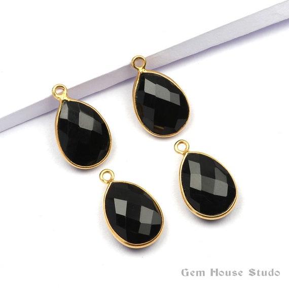 Black Onyx Bezel Charm Black Onyx Gemstone Bezel Charms Pendant 1 Piece, 7x14mm Micron Gold Plated Black Onyx Pendant